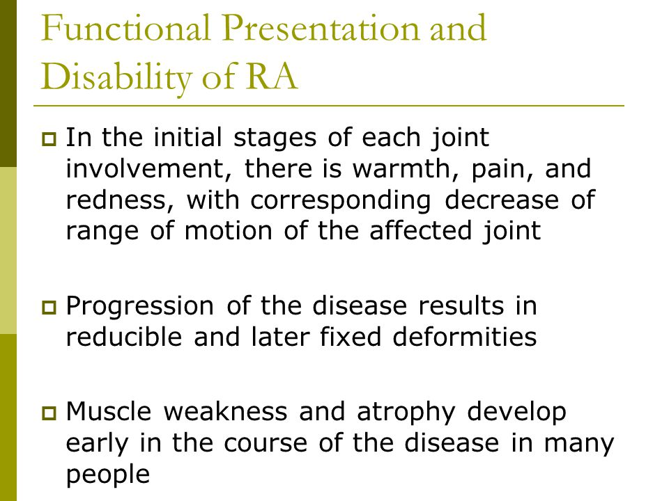 Functional Presentation and Disability of RA