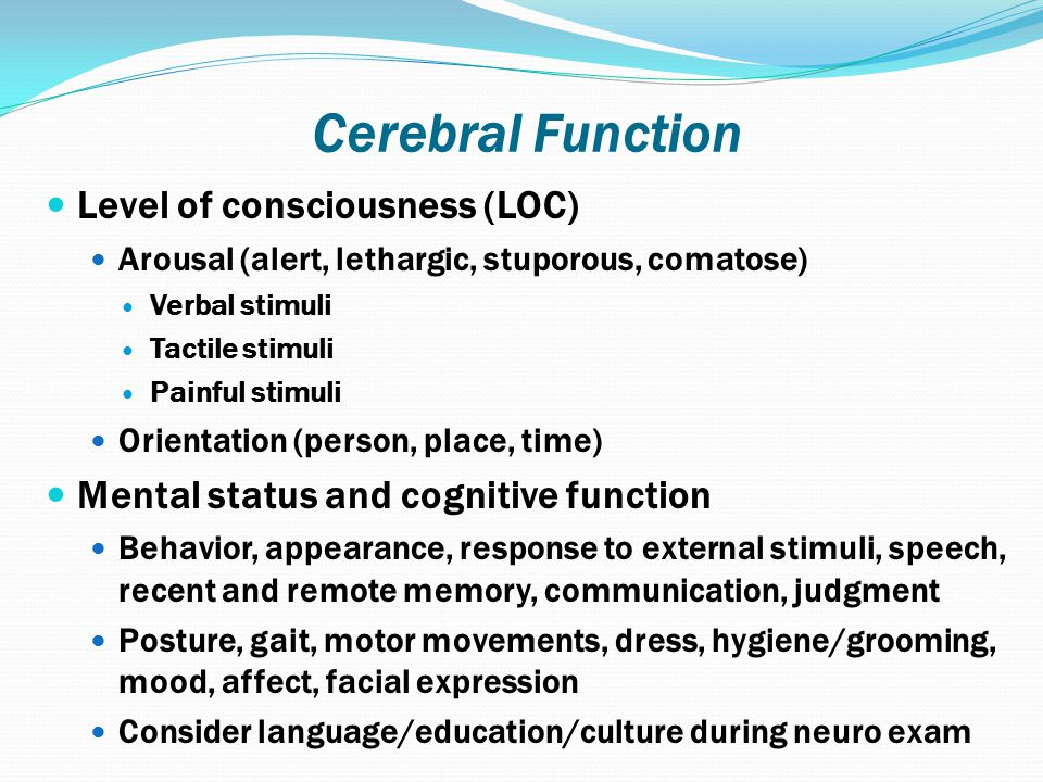 Cerebral Function Level of consciousness (LOC)