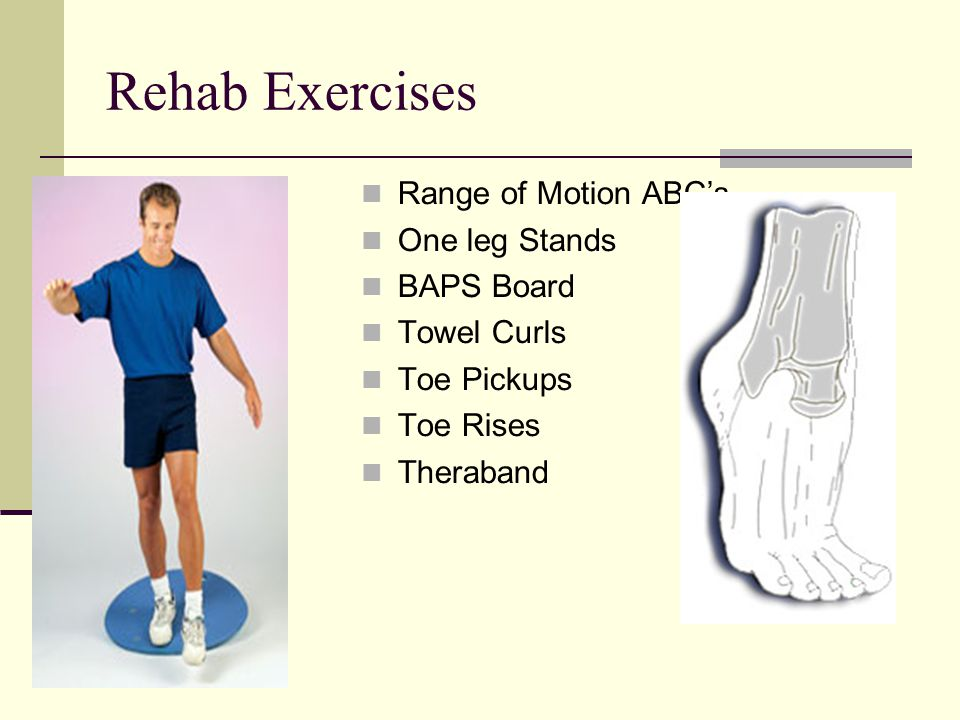 Rehab Exercises Range of Motion ABC's One leg Stands BAPS Board