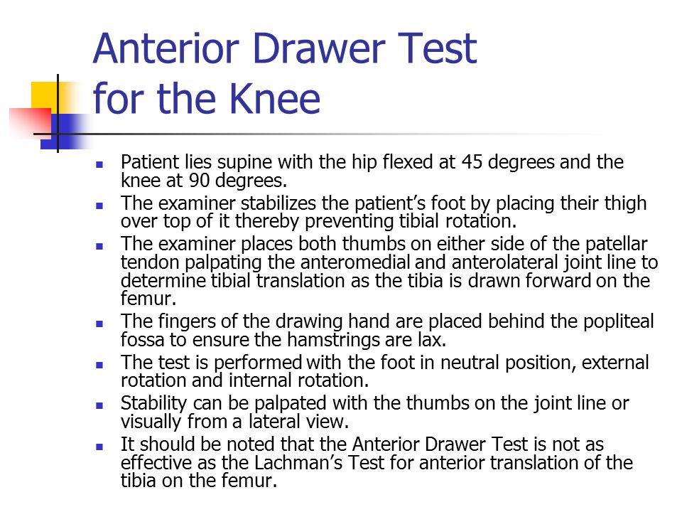 Anterior Drawer Test for the Knee