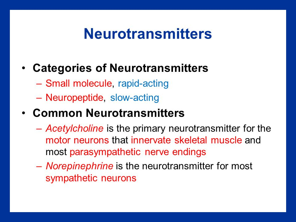Neurotransmitters Categories of Neurotransmitters