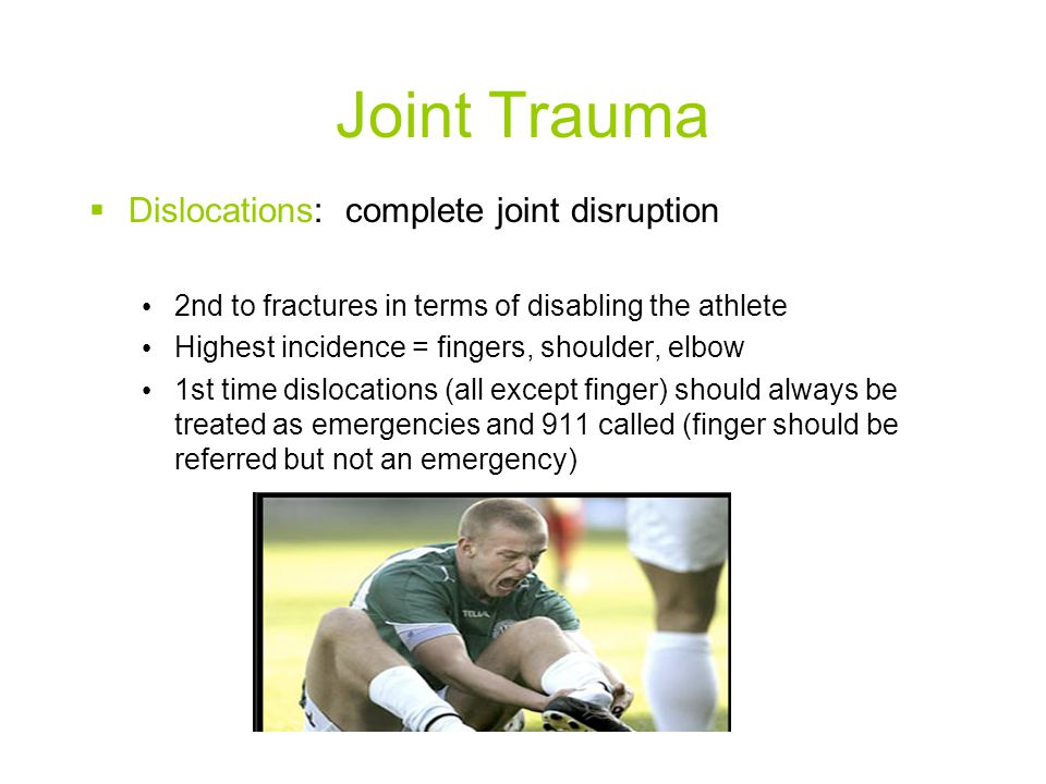 Joint Trauma Dislocations: complete joint disruption