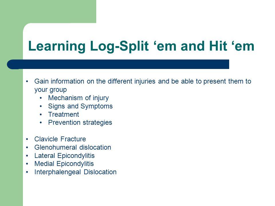 Learning Log-Split 'em and Hit 'em