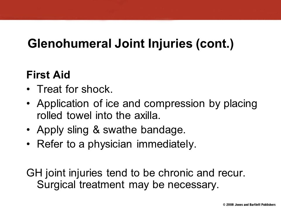 Glenohumeral Joint Injuries (cont.)
