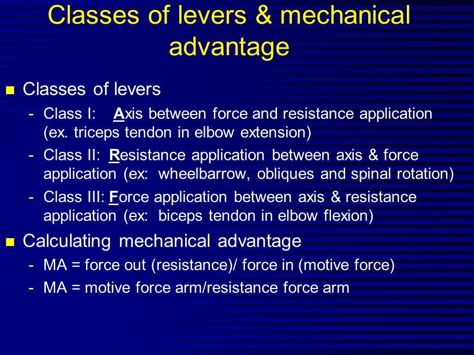Classes of levers & mechanical advantage