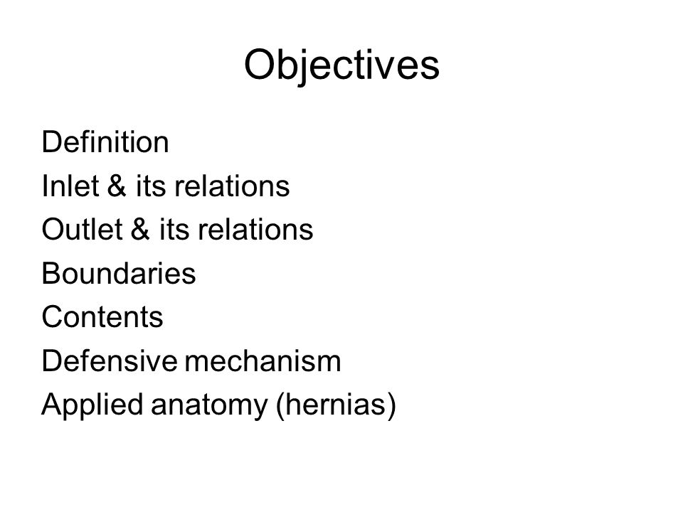 Objectives Definition Inlet & its relations Outlet & its relations