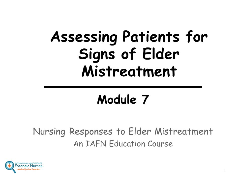 Assessing Patients for Signs of Elder Mistreatment