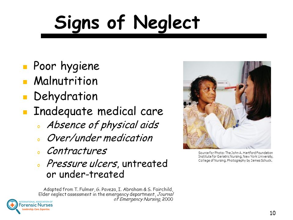 Signs of Neglect Poor hygiene Malnutrition Dehydration