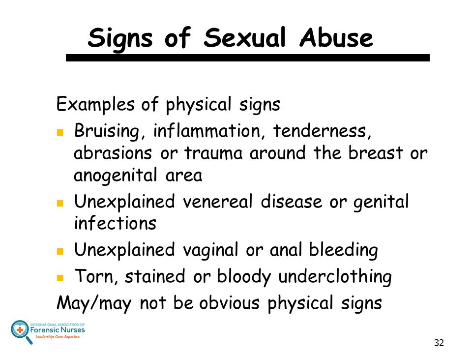 Signs of Sexual Abuse Examples of physical signs