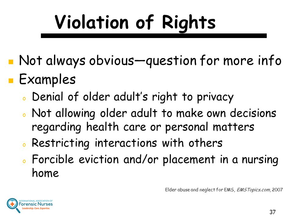 Violation of Rights Not always obvious—question for more info Examples