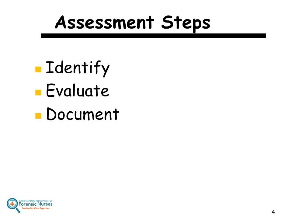 Assessment Steps Identify Evaluate Document