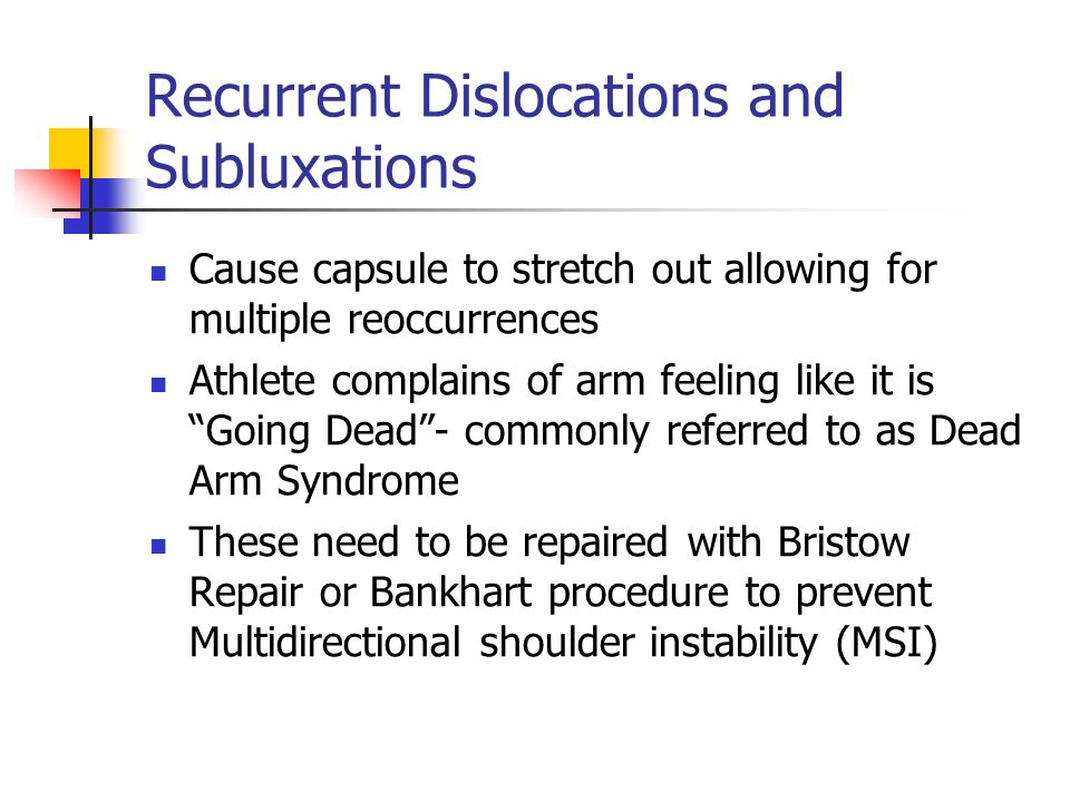 Recurrent Dislocations and Subluxations