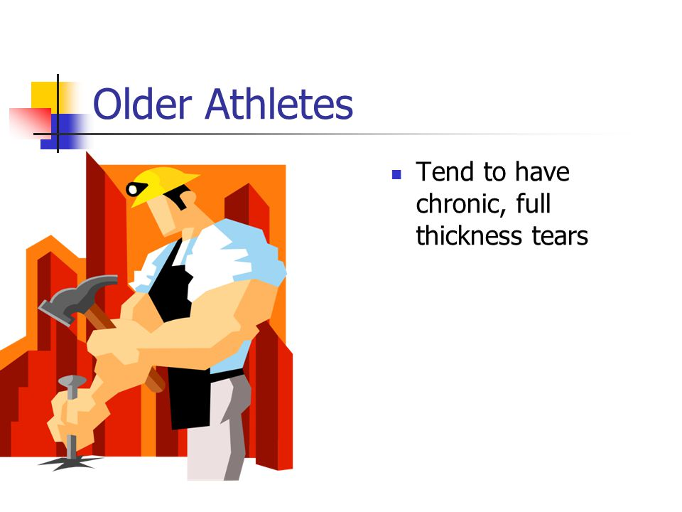 Older Athletes Tend to have chronic, full thickness tears