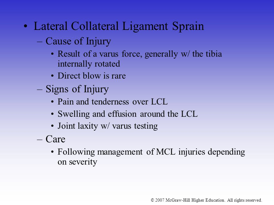 Lateral Collateral Ligament Sprain