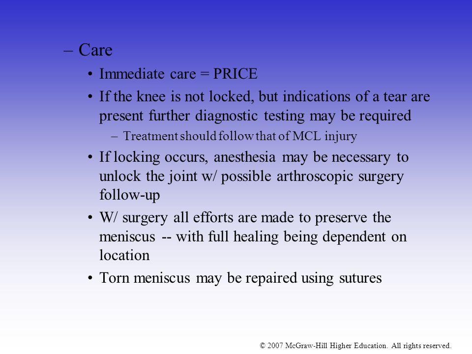 Care Immediate care = PRICE