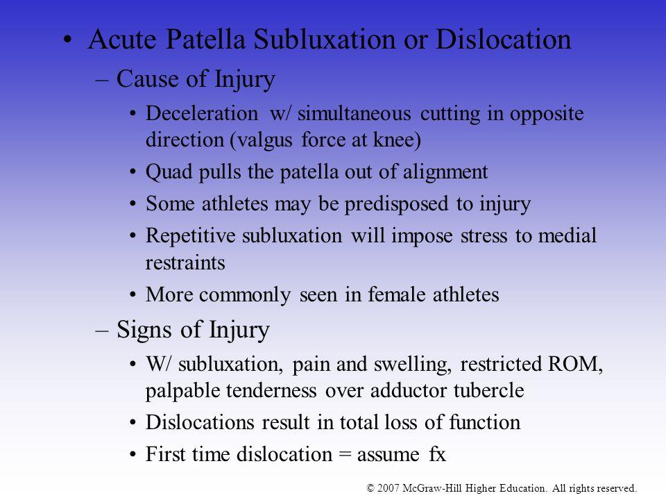 Acute Patella Subluxation or Dislocation