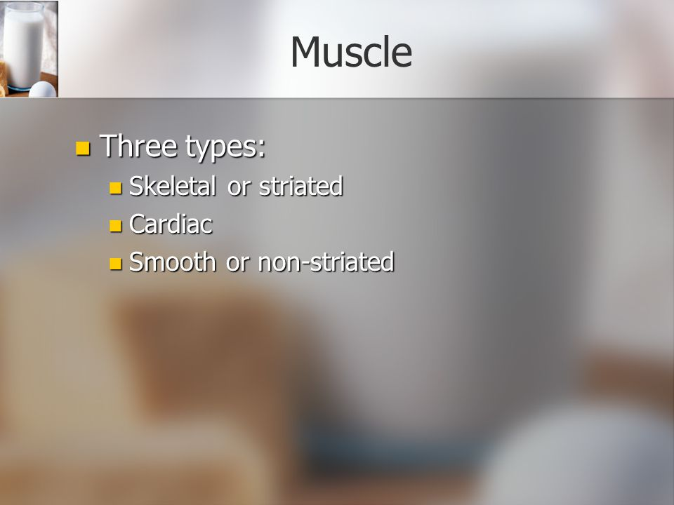Muscle Three types: Skeletal or striated Cardiac