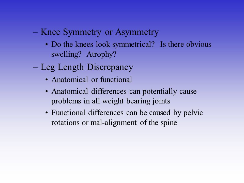 Knee Symmetry or Asymmetry