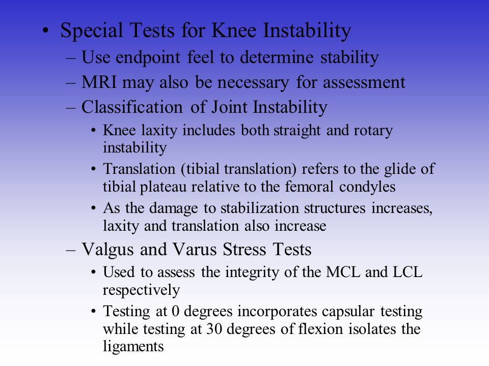 Special Tests for Knee Instability
