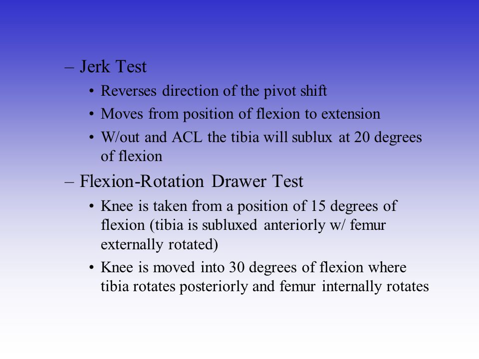 Flexion-Rotation Drawer Test