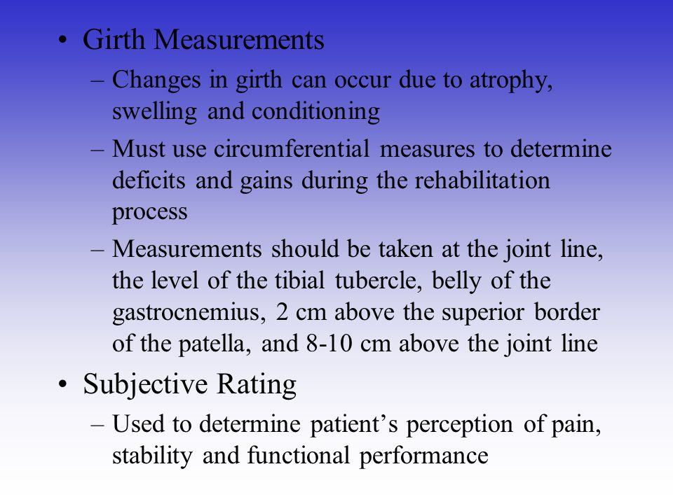 Girth Measurements Subjective Rating