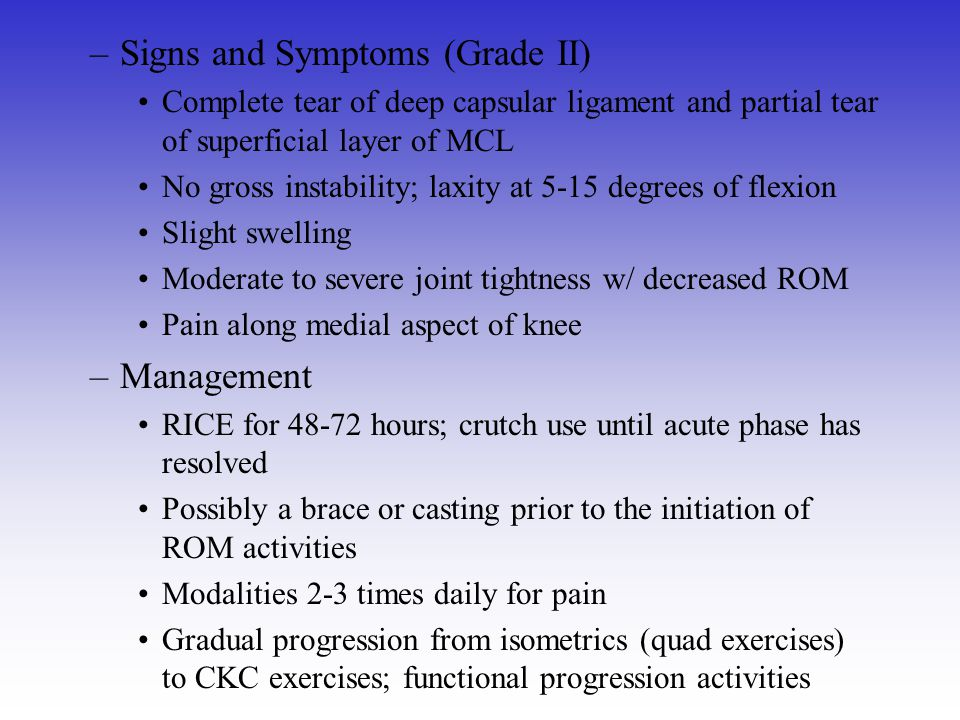 Signs and Symptoms (Grade II)
