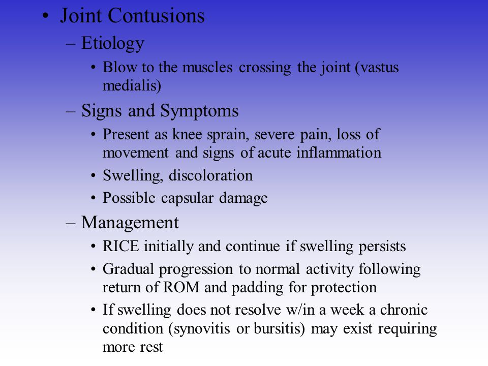 Joint Contusions Etiology Signs and Symptoms Management