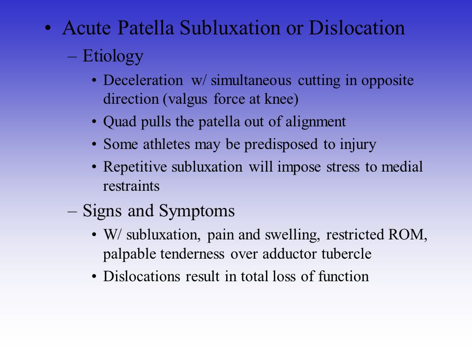 Acute Patella Subluxation or Dislocation