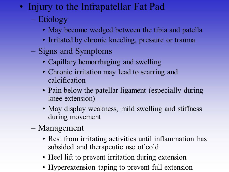 Injury to the Infrapatellar Fat Pad
