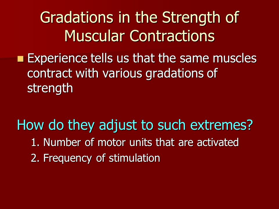Gradations in the Strength of Muscular Contractions