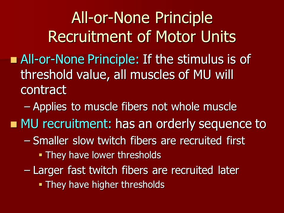 All-or-None Principle Recruitment of Motor Units