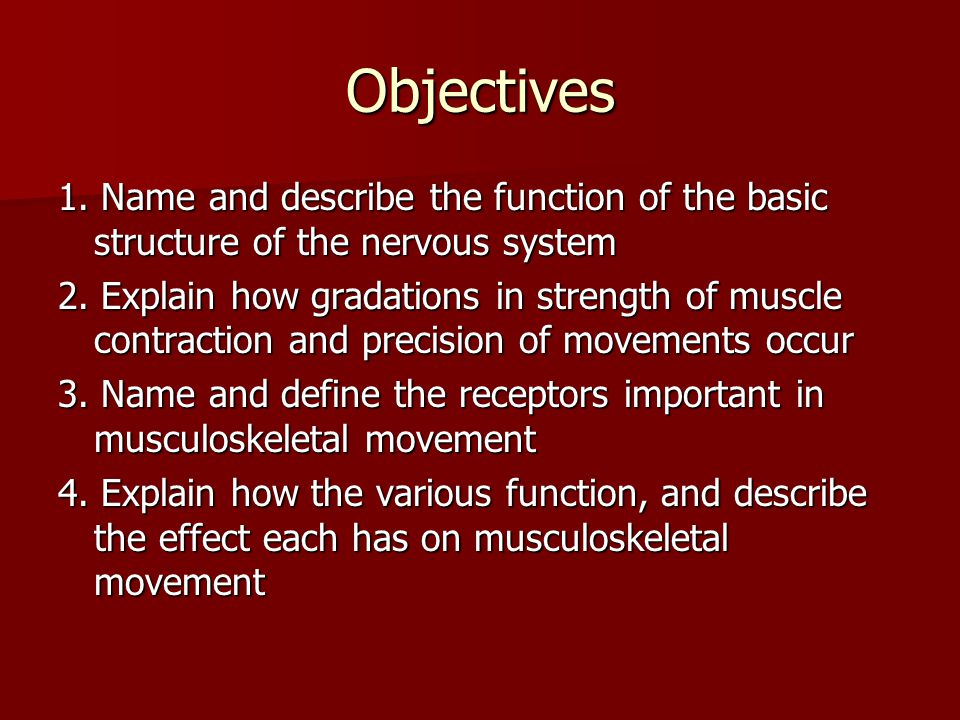 Objectives 1. Name and describe the function of the basic structure of the nervous system.