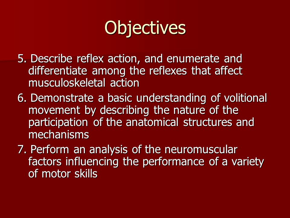 Objectives 5. Describe reflex action, and enumerate and differentiate among the reflexes that affect musculoskeletal action.
