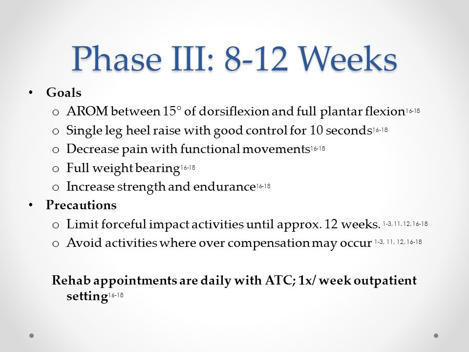 Phase III: 8-12 Weeks Goals