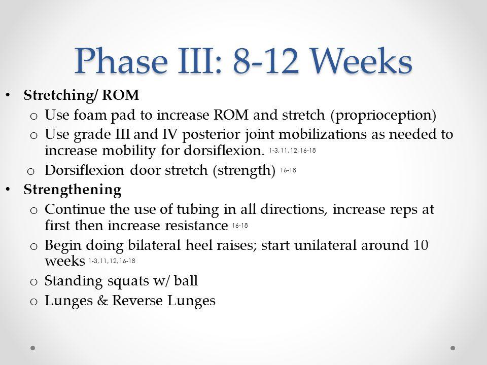 Phase III: 8-12 Weeks Stretching/ ROM