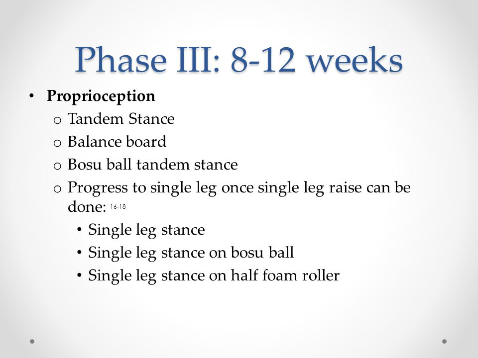 Phase III: 8-12 weeks Proprioception Tandem Stance Balance board