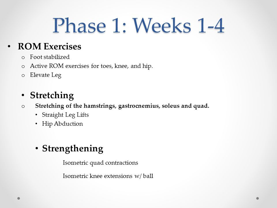 Phase 1: Weeks 1-4 ROM Exercises Stretching Strengthening