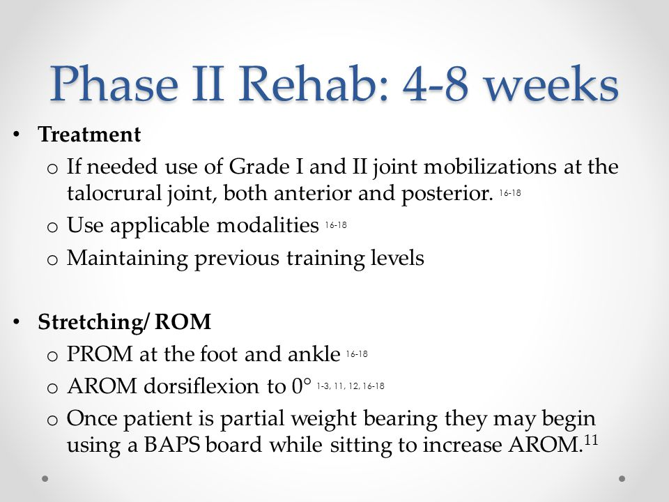 Phase II Rehab: 4-8 weeks Treatment