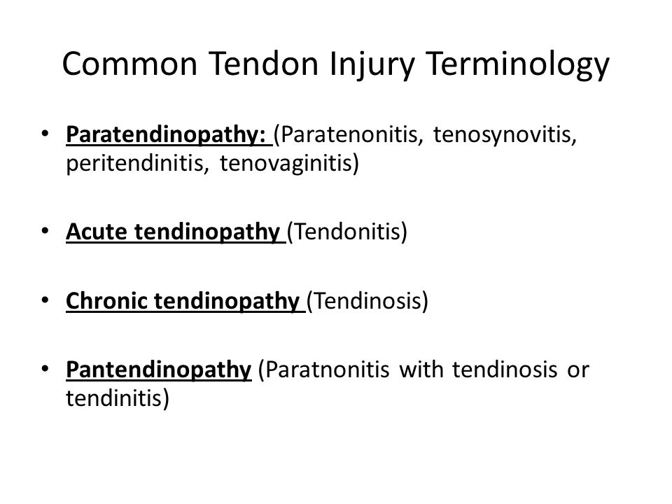 Common Tendon Injury Terminology