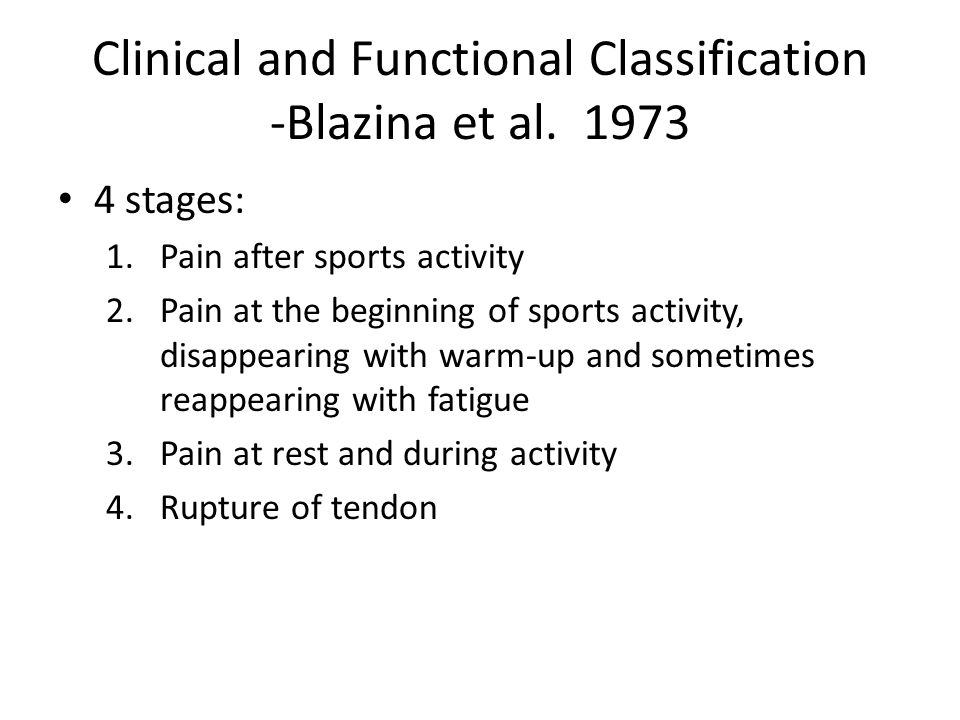 Clinical and Functional Classification -Blazina et al. 1973