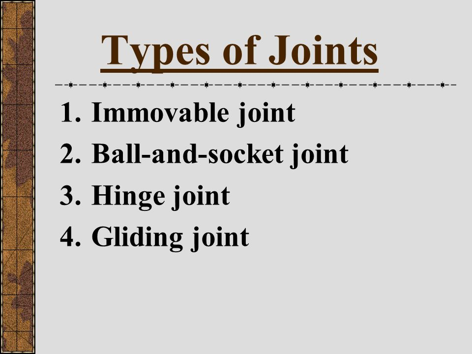 Types of Joints Immovable joint Ball-and-socket joint Hinge joint
