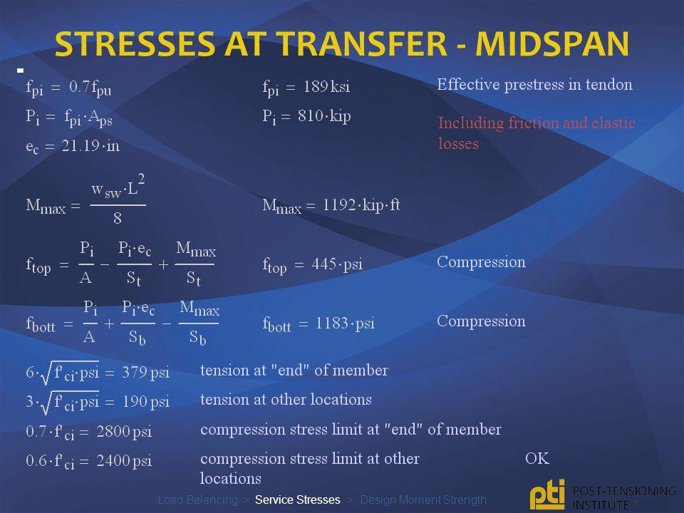Stresses at transfer - midspan
