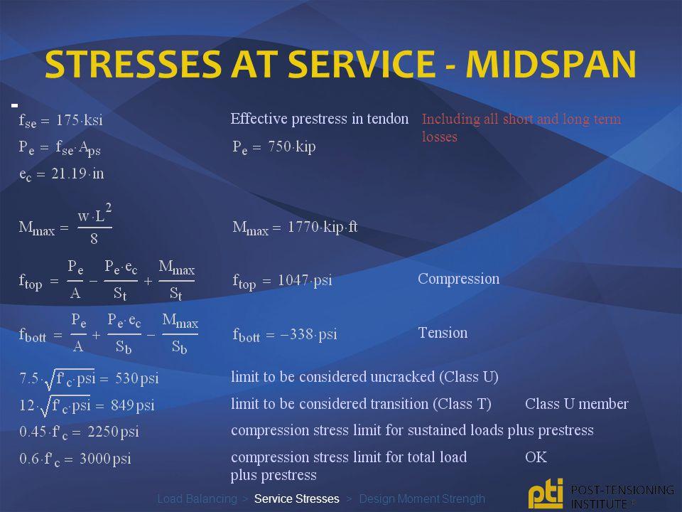 Stresses at service - midspan