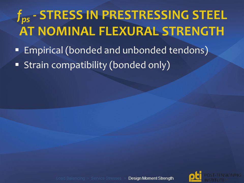 fps - stress in prestressing steel at nominal flexural strength