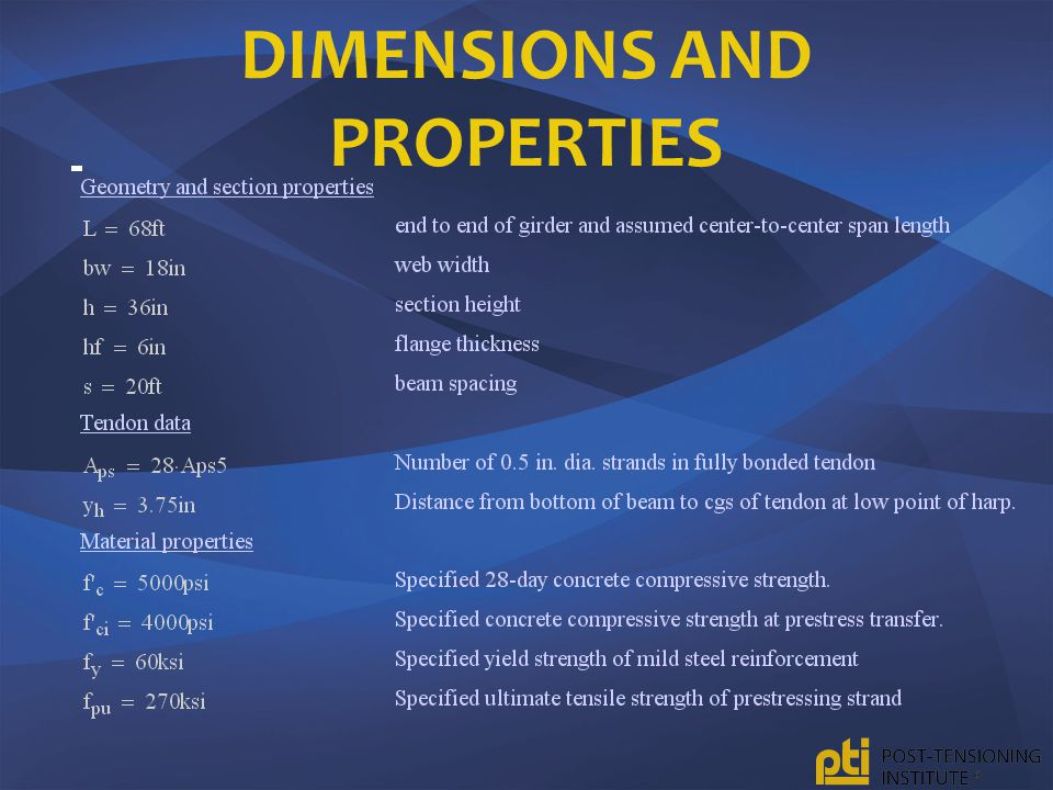 Dimensions and properties