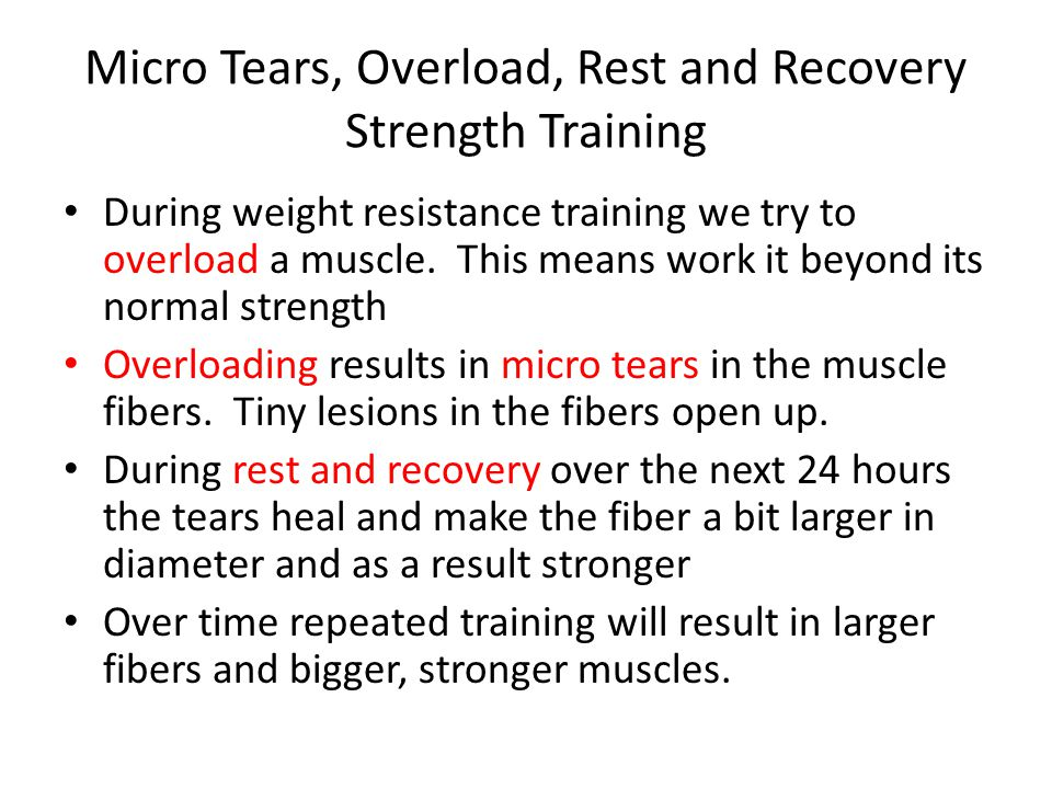 Micro Tears, Overload, Rest and Recovery Strength Training