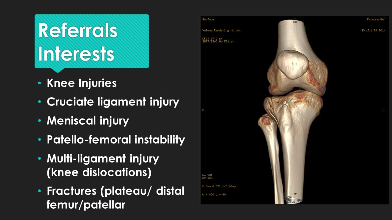 Cruciate ligament injury Meniscal injury Patello-femoral instability