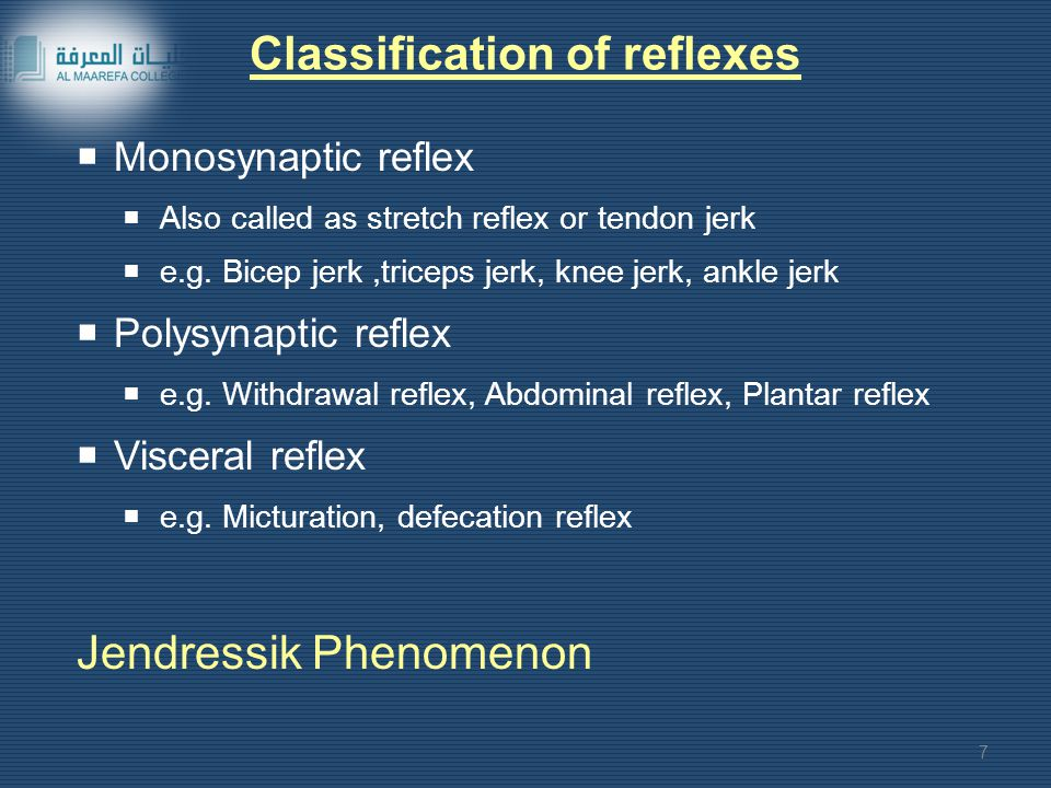 Classification of reflexes