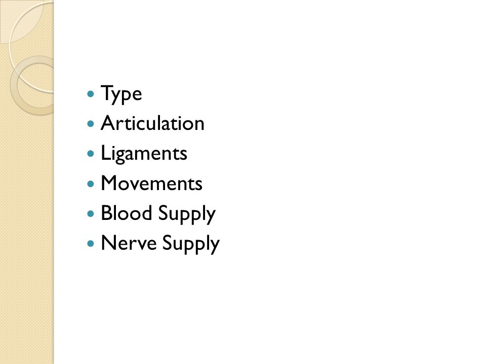 Type Articulation Ligaments Movements Blood Supply Nerve Supply