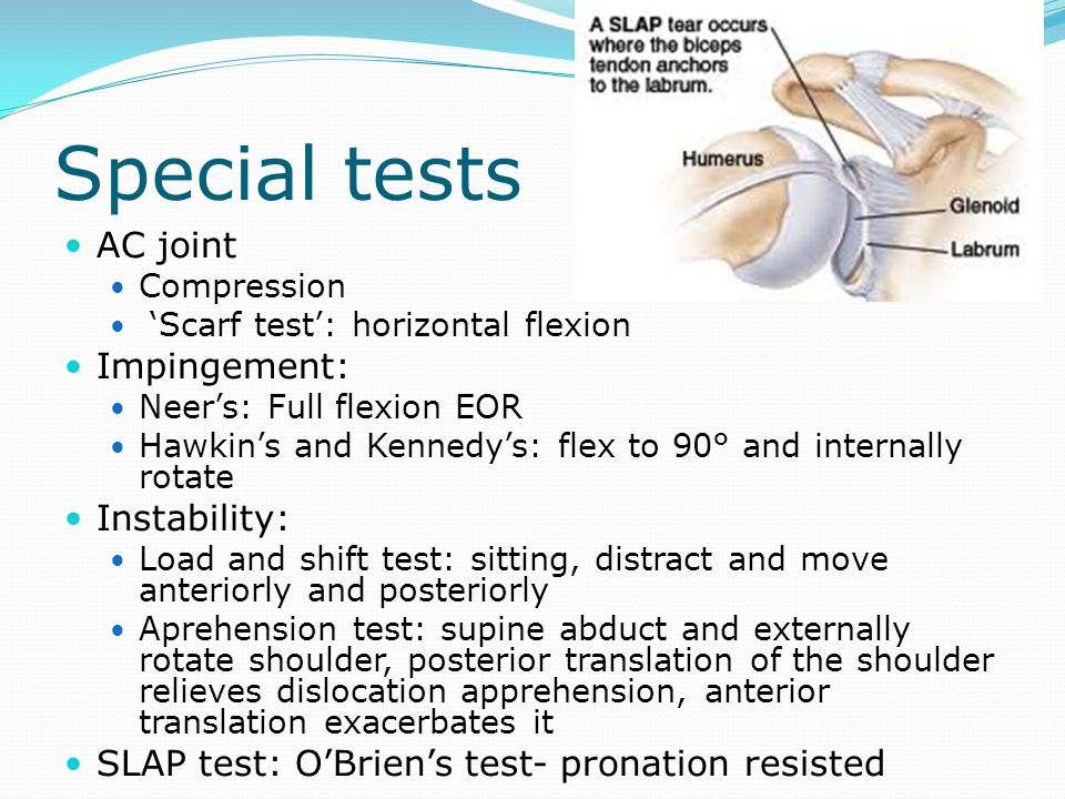 Special tests AC joint Impingement: Instability: